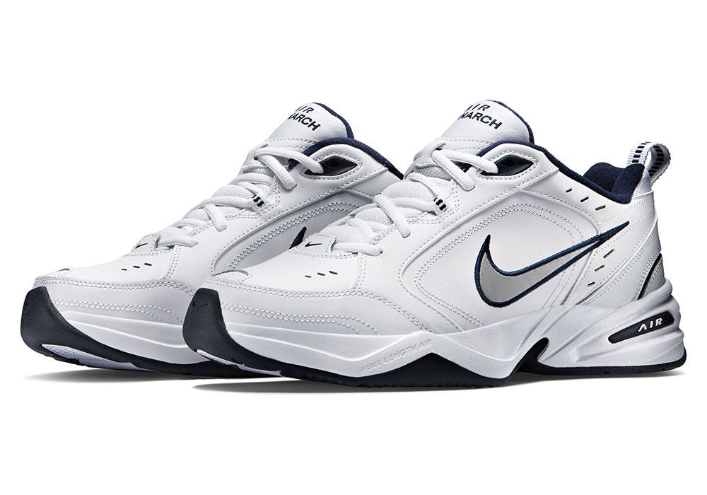 096574bea54a3b Mens Nike Air Monarch IV Trainer White   Navy in White