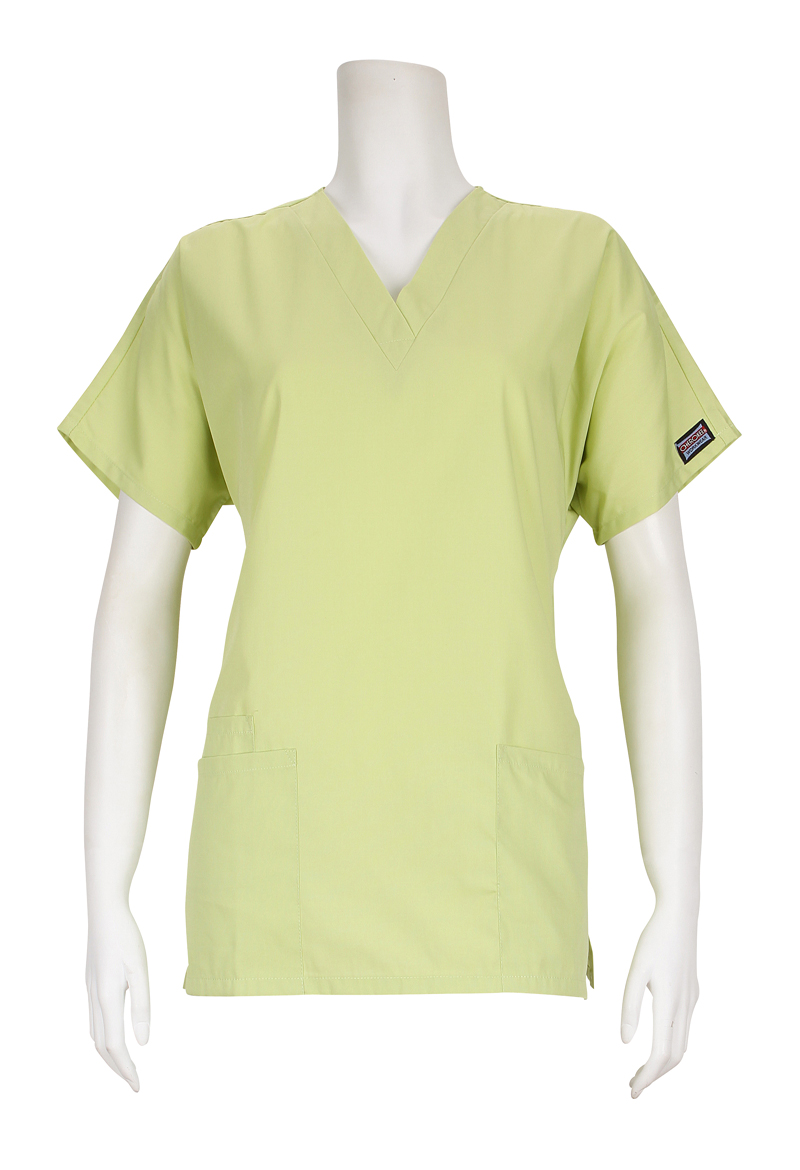 Womens Cherokee Workwear Two Pocket V Neck Celadon