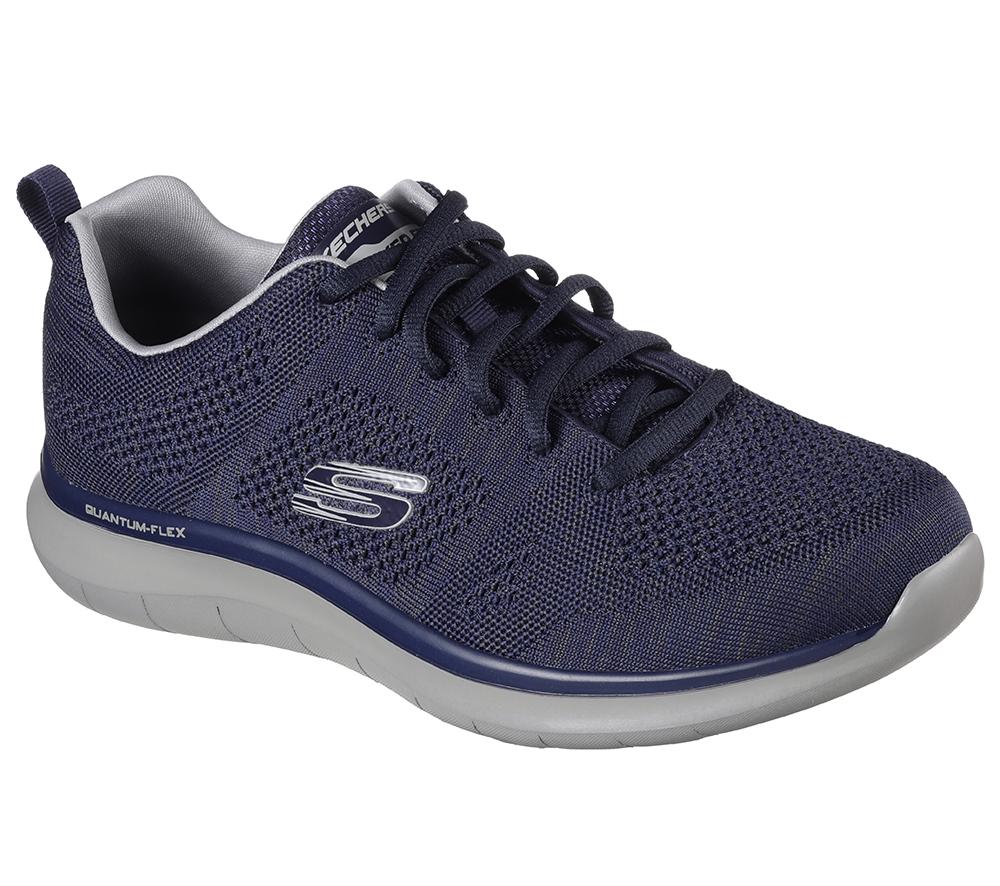 Mens Skechers Quantum-Flex Relaxed Flit Flat Knit Navy/Grey