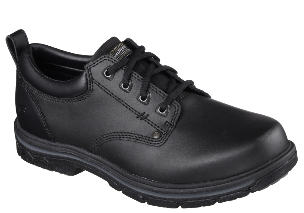 Mens Skechers Rilar Plain Toe Oxford Black