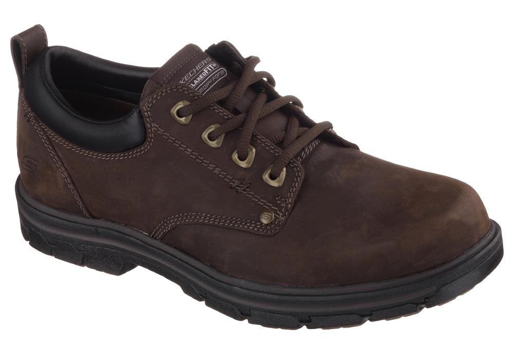 Mens Skechers Rilar Plain Toe Oxford Brown