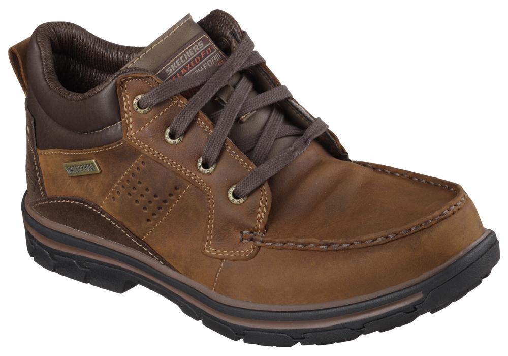 Mens Skechers Melego Waterproof Moc Toe Boot Brown