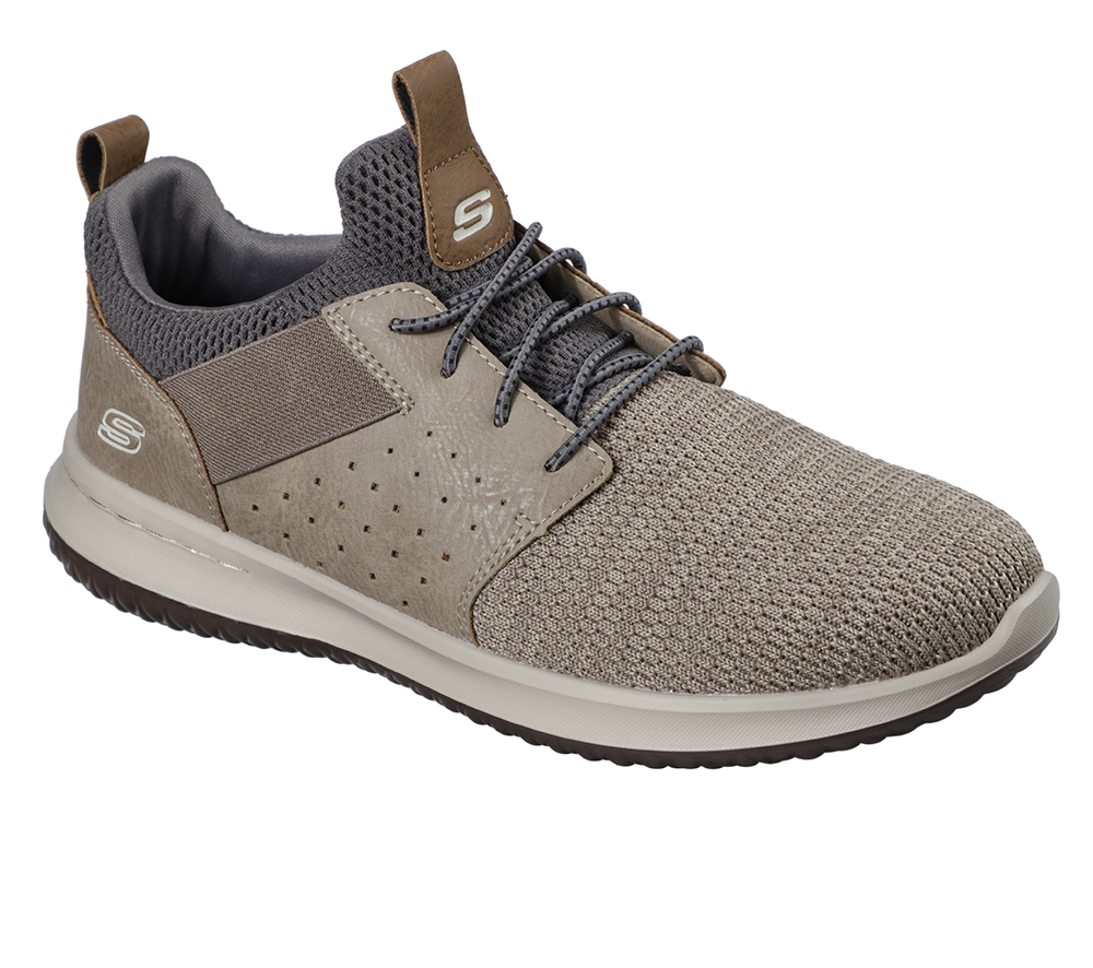 Mens Skechers Delson Camben Slip On W Bungee Cord Taupe