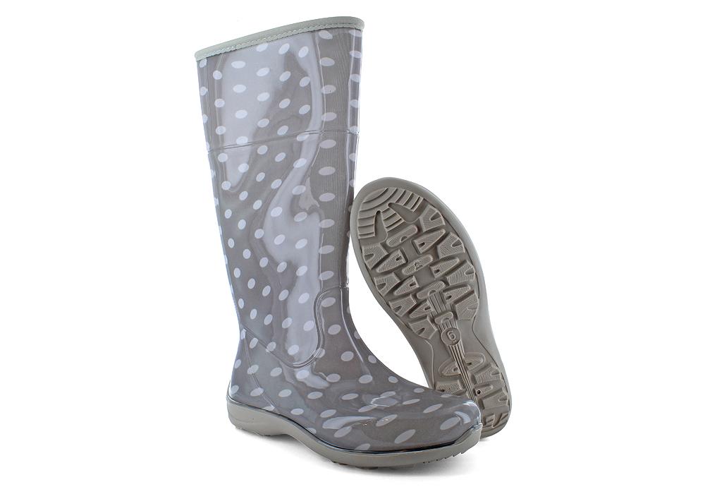 Womens Itasca Polka Dot Mid Rain Boot Grey/White