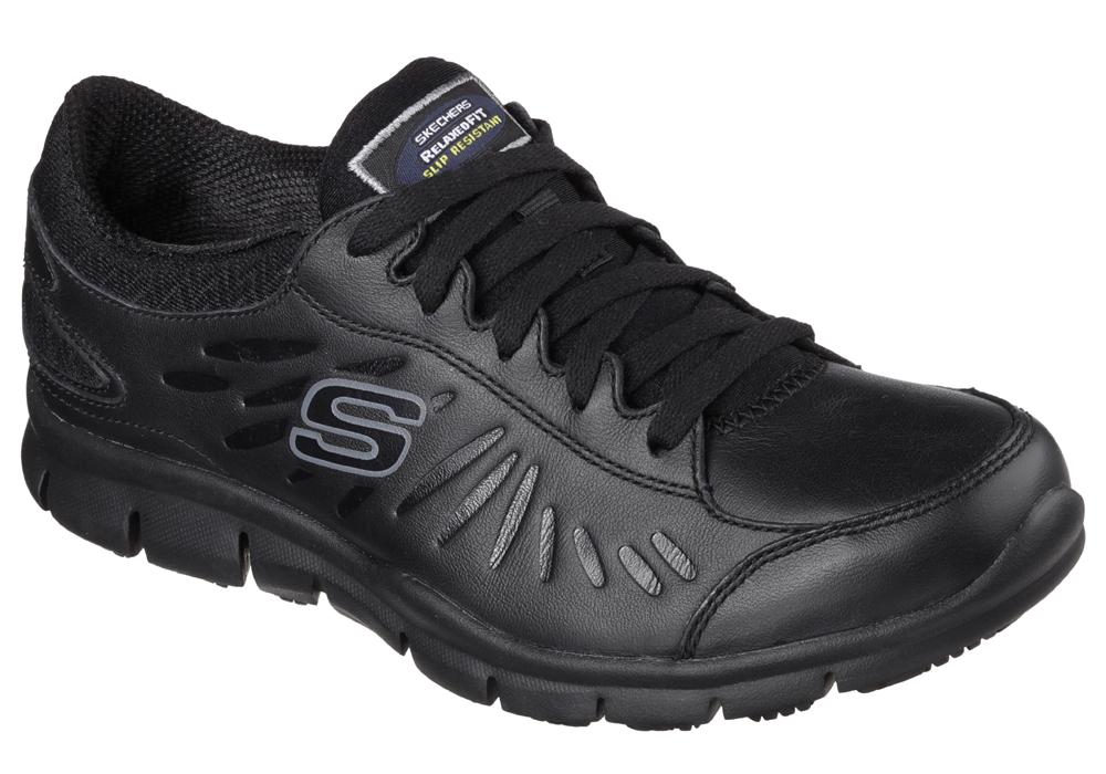 Womens Skechers Work Slip Resistant EH Memory Foam Eldred Black in Black 370c593b1