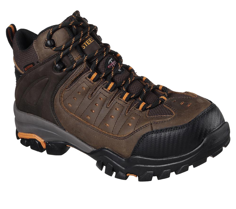 00deca6d4fb Mens Skechers Work Steel Toe Waterproof EH Hiker Brown