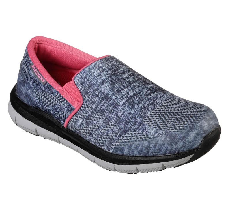 7ed6498de403 Womens Skechers Work HC Pro Comfort Flex Slip-On Gray Pink in Gray