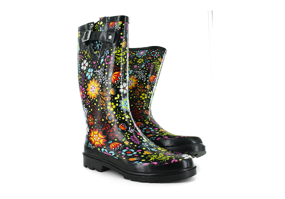 Womens Western Chief Garden Play Rain Boot Black Floral