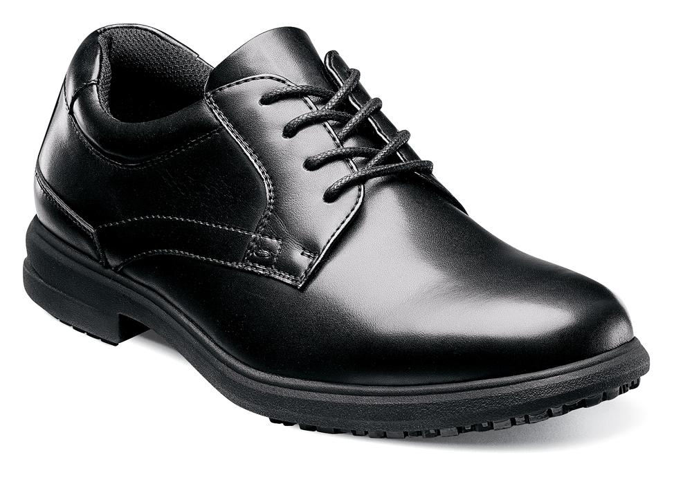 Mens Nunn Bush Sherman Slip Resistant Plain Toe Oxford Black