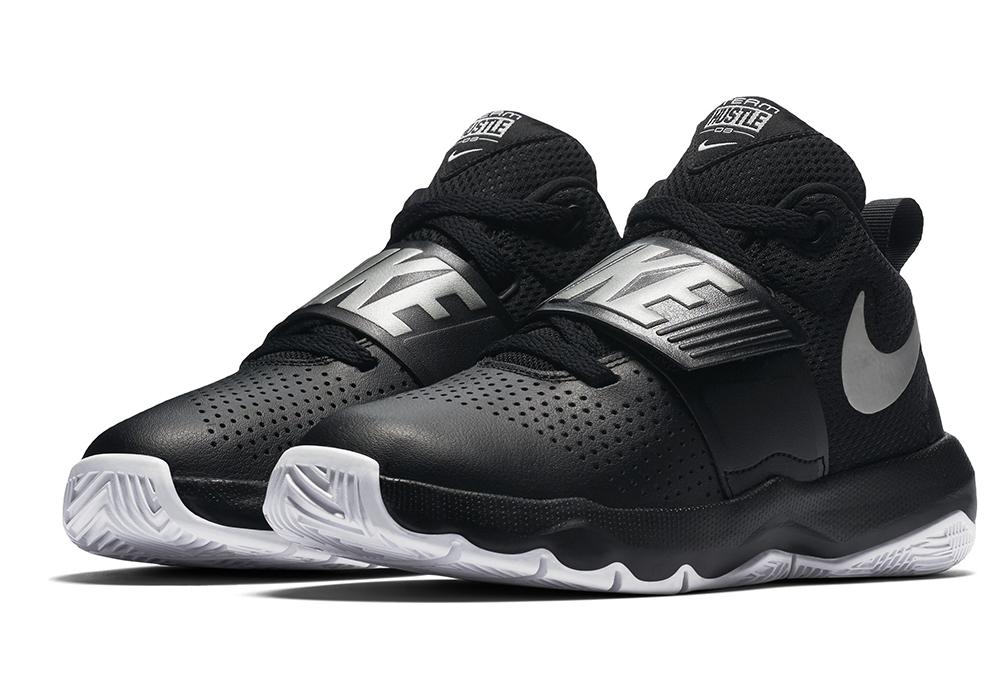 4f474dd042a Big Boys Nike Team Hustle D8 Mid Basketball Black White in Black