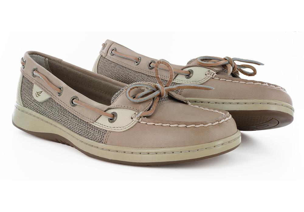 Womens Sperry Angelfish 1 Eye Boat Shoe Linen Oat in Brown e3fa7dc0375