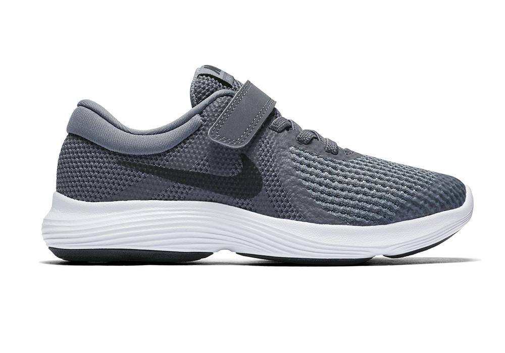 premium selection 67878 86903 Boys Nike Revolution 4 Strap Runner GrayWhite in Gray