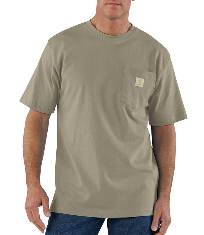 Mens Carhartt K87 Pocket T Shirt Ash Tall Sizes