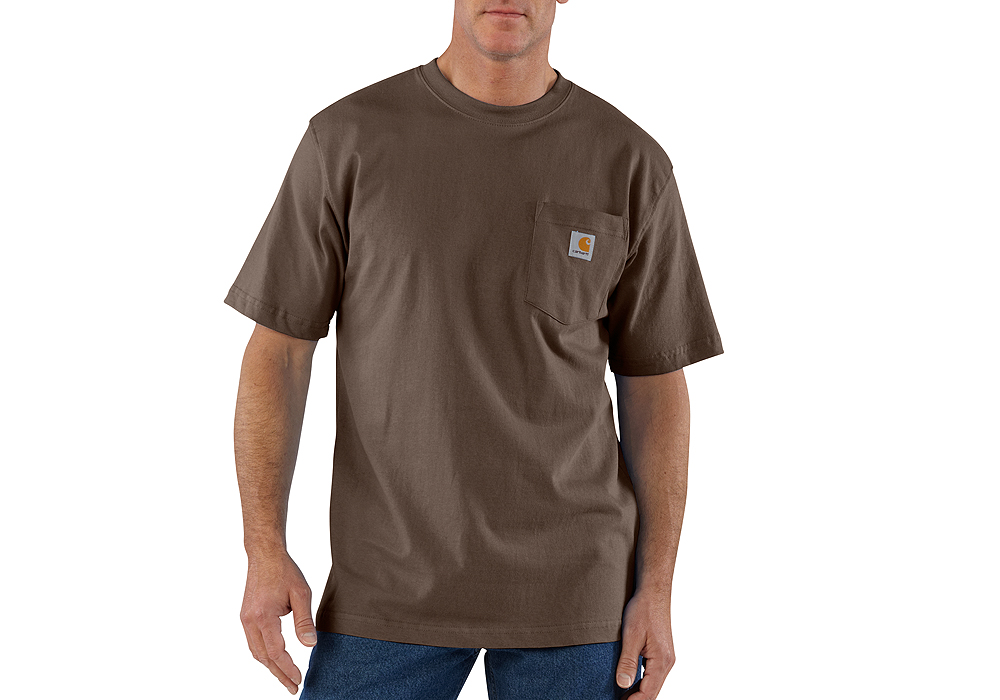 Mens carhartt k87 pocket t shirt dark brown for Black brown mens shirts