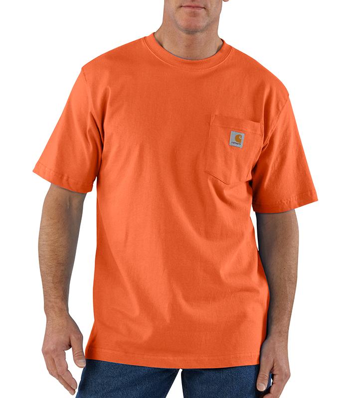Mens carhartt k87 pocket t shirt orange sizes 3xl 4xl for Mens t shirts 4xl