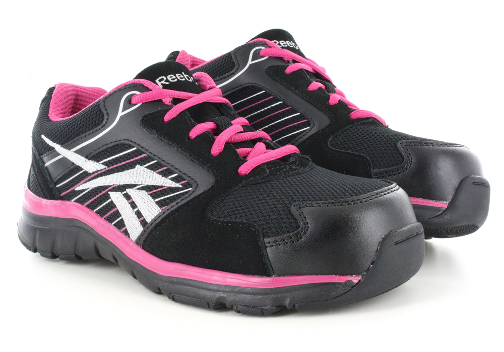 c9866a0d529 Womens Reebok Work Composite Toe ESD Anomar Athletic Black   Pink in Black
