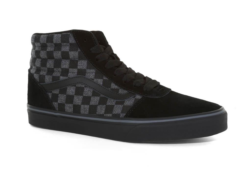 4546f1d1fd Mens Vans Ward Checkerboard Hi Suede Canvas Black Gray in Black