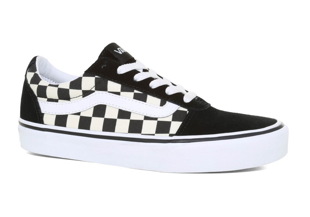 1553c106e659 Womens Vans Ward Checkerboard Suede Canvas Black White in Black