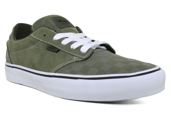 Mens Vans Atwood Deluxe Checkerboard Olive/White