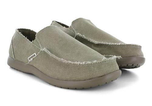 Mens Crocs Santa Cruz Moc Toe Slip On Canvas Khaki