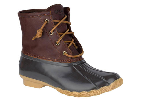 Womens Sperry Saltwater Duck Boot Tan Dark Brown